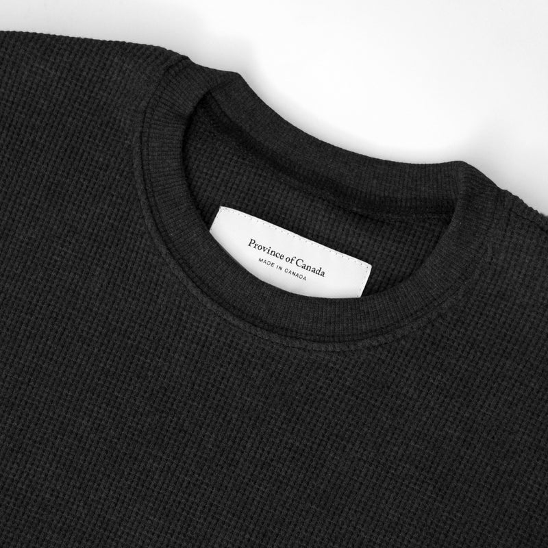Made in Canada Waffle Long Sleeve Crop Top Black - Province of Canada