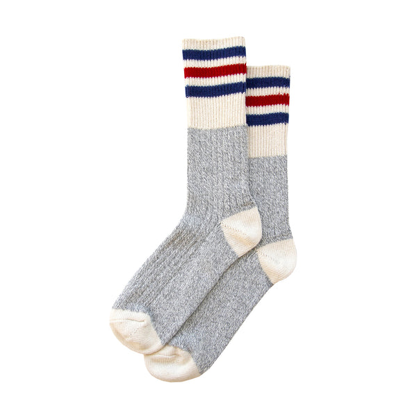 Cotton Blue and Red Stripe Sock - Made in Canada