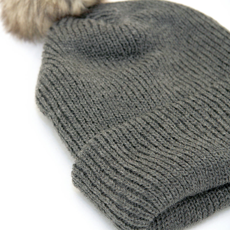 Faux Fur Pom Pom Toque Charcoal - Province of Canada
