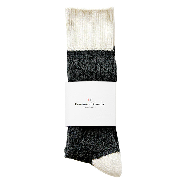 Province of Canada - Made in Canada - Colour Block Cotton Sock - Charcoal