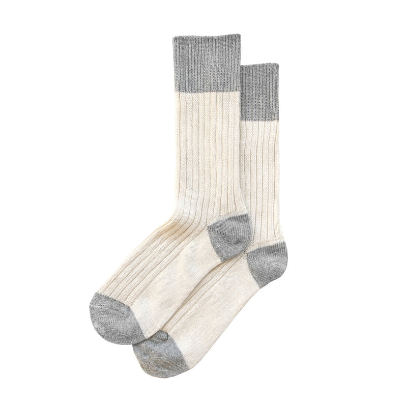Cotton Cream Block Sock - Made in Canada