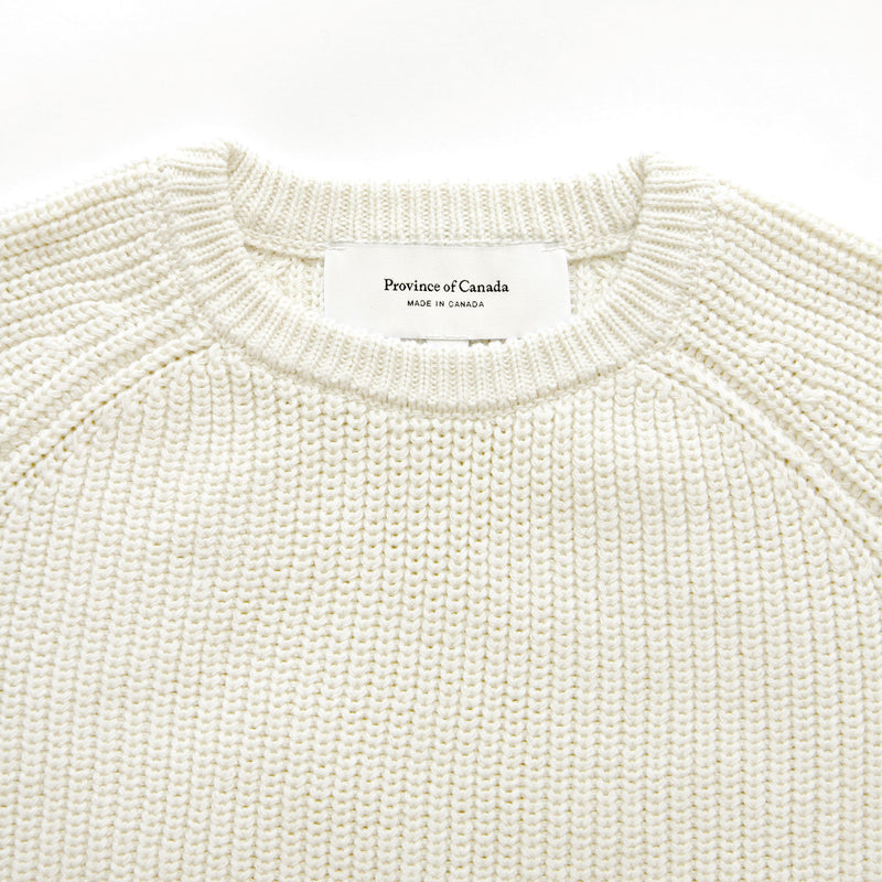Cotton Knit Sweater Ivory - Unisex - Province of Canada - Made in Canada