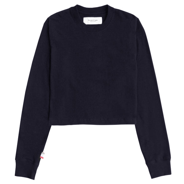 Province of Canada - Monday Long Sleeve Crop Top Navy - Made in Canada