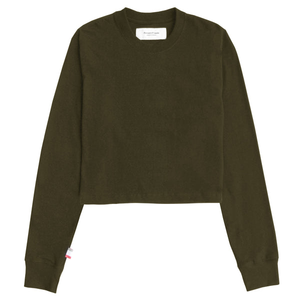 Monday Long Sleeve Crop Tee Olive