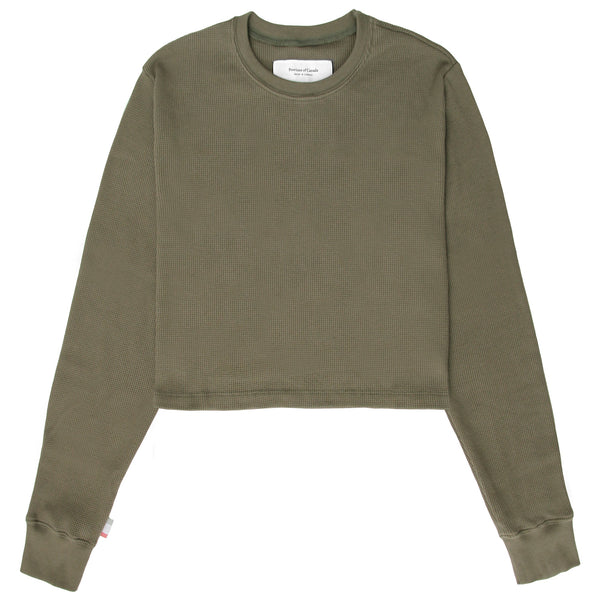 Made in Canada Waffle Long Sleeve Crop Top Olive - Province of Canada