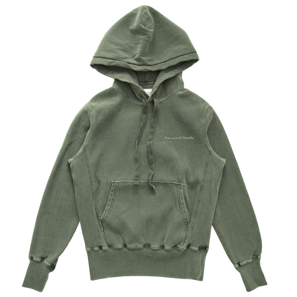 Province of Canada - Cross Grain Hoodie Washed Olive - Unisex - Made in Canada
