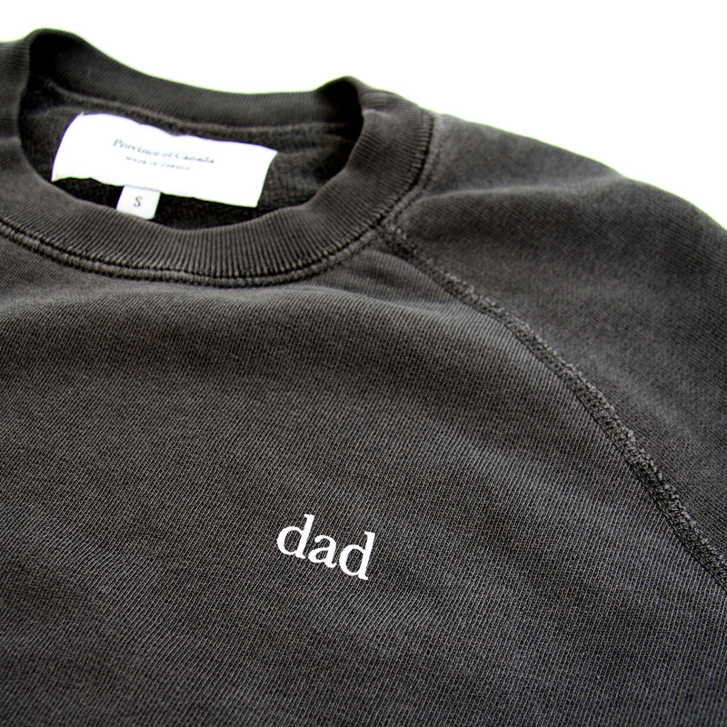 Dad French Terry Crewneck Sweater Washed Black - Mens - Province of Canada