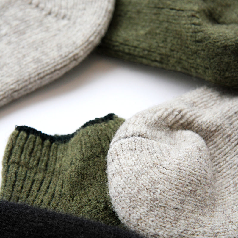 Slipper Socks Olive 100% Wool - Made in Canada - Province of Canada