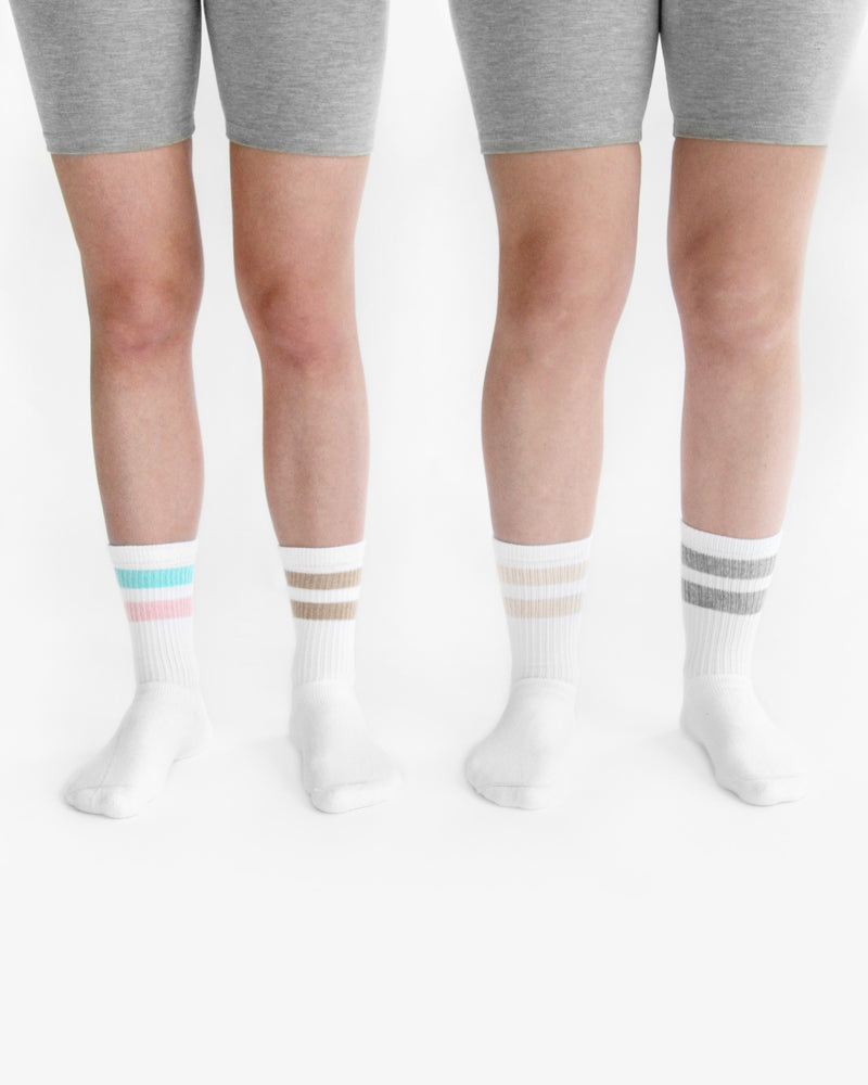Made in Canada Deux Stripe Crew Sock Pink and Blue - Province of Canada