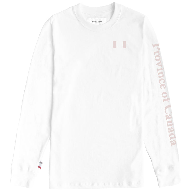Flag Long Sleeve Tee White - Unisex - Province of Canada - Made in Canada