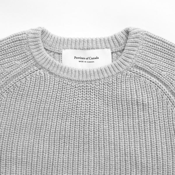 Cotton Knit Sweater Grey - Unisex - Province of Canada - Made in Canada