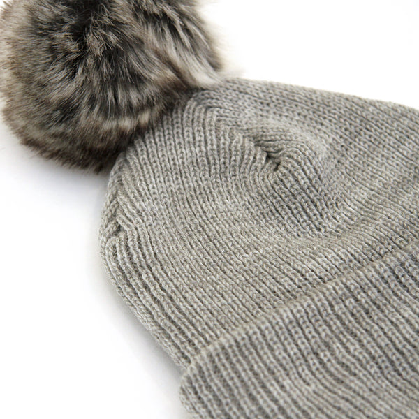 Faux Fur Pom Pom Toque Heather Grey - Province of Canada