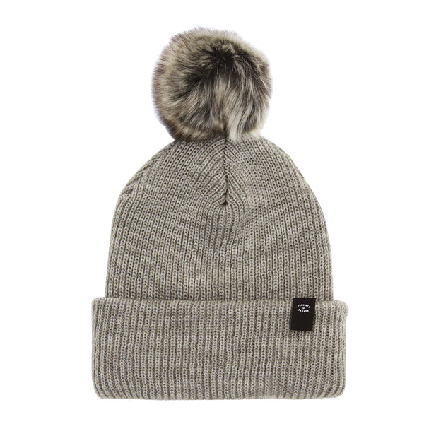 Faux Fur Pom Pom Toque - Heather Grey - Made in Canada - Province of Canada