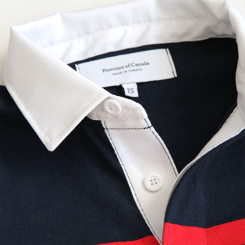 Hudson Red, Navy, Heather Grey and White Stripe Rugby Shirt Unisex - Made in Canada - Province of Canada