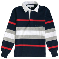 Hudson Red, Navy, Heather Grey and White Stripe Rugby Shirt Mens - Made in Canada - Province of Canada