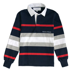 Hudson Red, Navy, Heather Grey and White Stripe Rugby Shirt Womens - Made in Canada - Province of Canada
