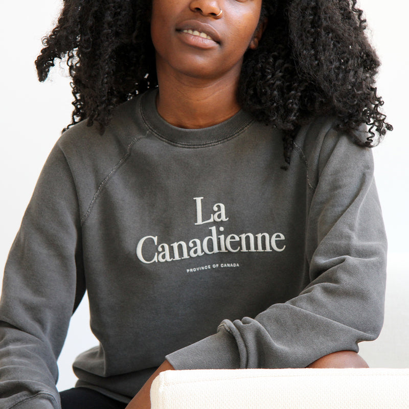 La Canadienne Crewneck Sweater Washed Black - Womens - Province of Canada