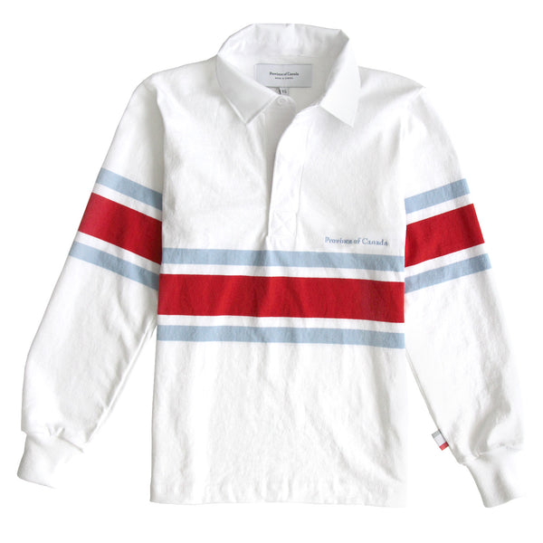 Lawrence Red, Blue and White Rugby Shirt Womens - Made in Canada - Province of Canada