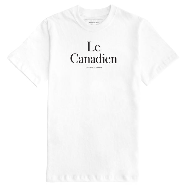 Le Canadien White Tee Mens - Made in Canada - Province of Canada