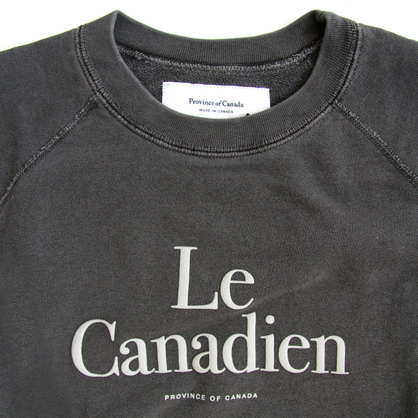 Le Canadien Crewneck Sweater Washed Black - Mens - Province of Canada