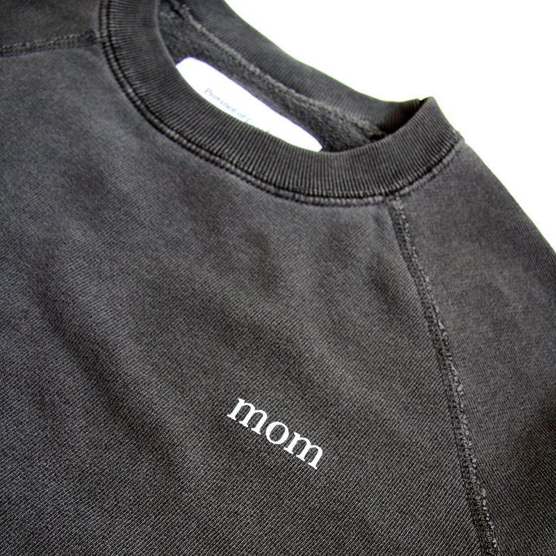 Mom French Terry Crewneck Sweater Washed Black - Womens - Province of Canada
