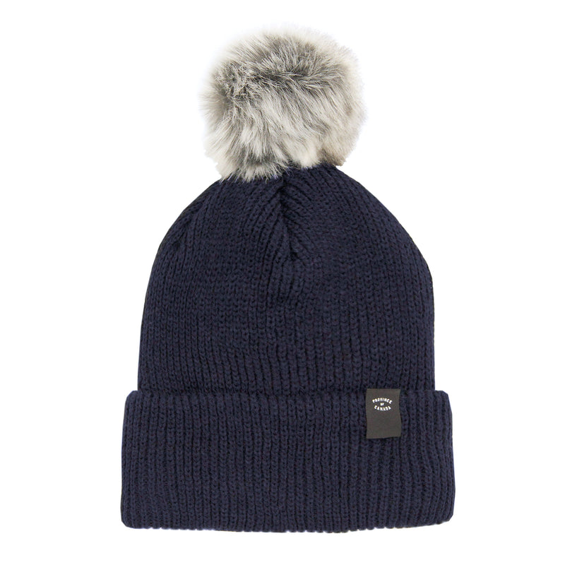 Faux Fur Pom Pom Toque Navy - Province of Canada