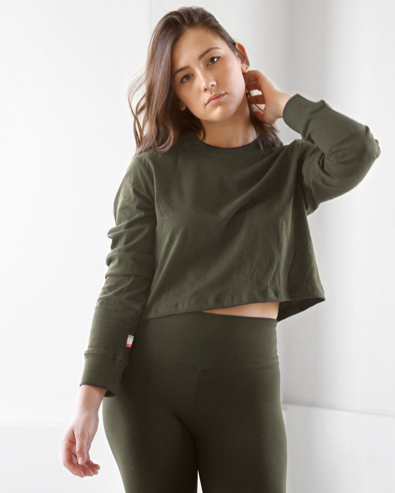 Province of Canada - Monday Long Sleeve Crop Tee Olive - Made in Canada