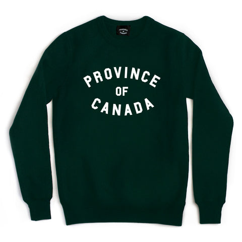 Province Crewneck Sweater White on Forest - Unisex