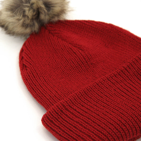Faux Fur Pom Pom Toque Red - Province of Canada
