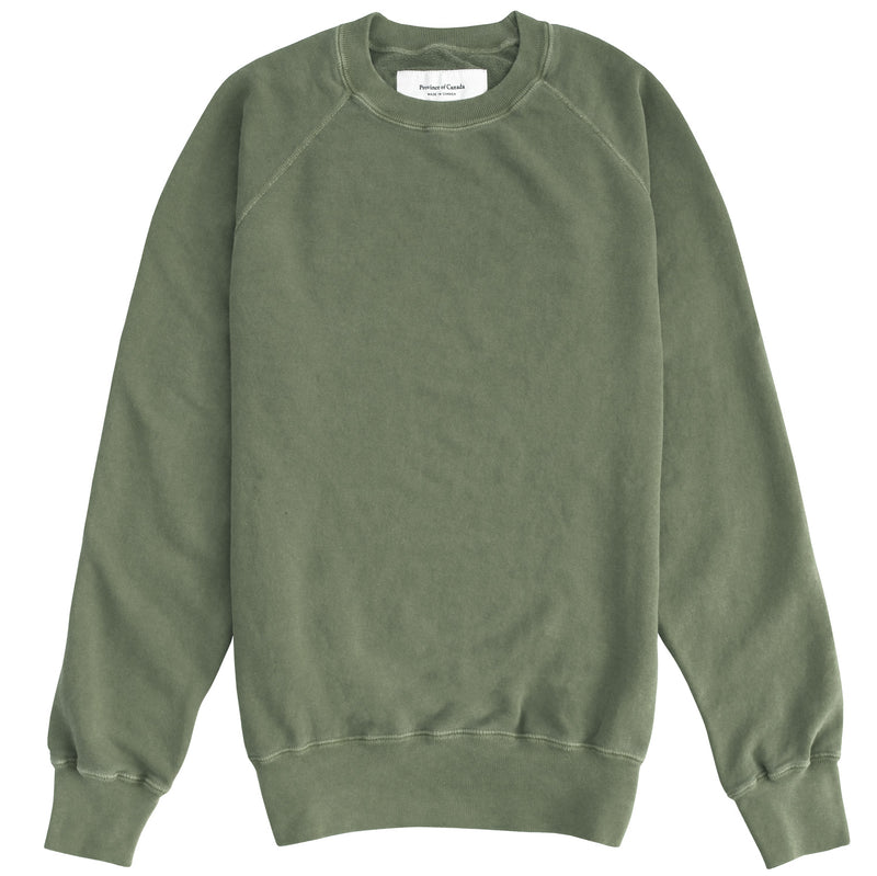 Weekend Sweatshirt Garment Dyed Washed Olive - Unisex - Made in Canada - Province of Canada