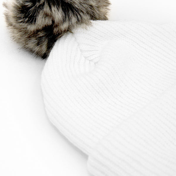 Faux Fur Pom Pom Toque White - Province of Canada