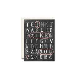 Word Find Love Birthday Greeting Card - Made in Canada - Province of Canada