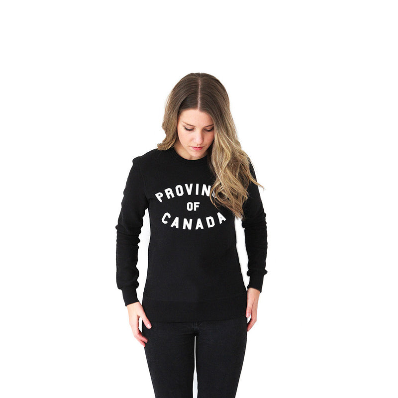 Province of Canada Black Crewneck Sweater Made in Canada