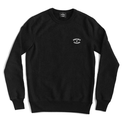 Province of Canada Embroidered Black Crewneck Sweater Made in Canada