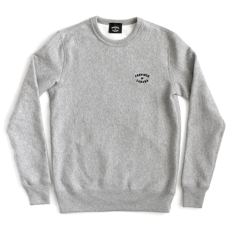 Province of Canada Embroidered Heather Grey Crewneck Sweater Made in Canada