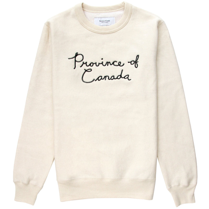 Handscript Fleece Sweatshirt Cream - Unisex - Made in Canada