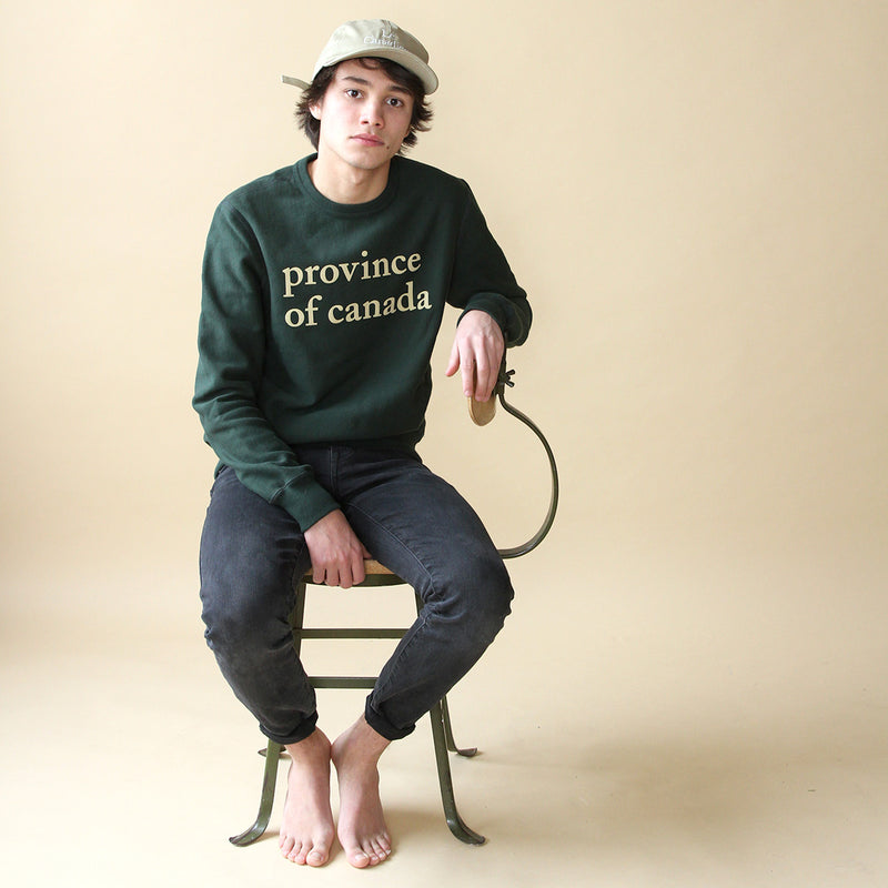 Lowercase Crewneck Forest Green and Camel - Unisex