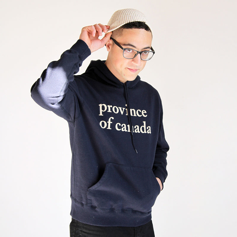 vProvince of Canada - Lowercase Hoodie Mens Navy and Camel