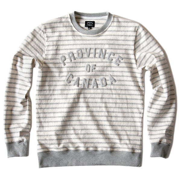 Province of Canada - Province Stripe Lightweight Crewneck Heather Grey - Made in Canada