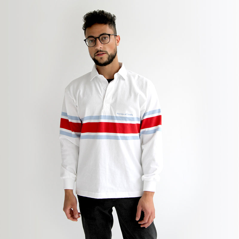 Lawrence Red, Blue and White Rugby Shirt Unisex - Made in Canada - Province of Canada