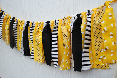 Bumble Bee Fabric Bunting - FREE Shipping