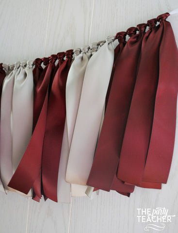 Burgundy Silver Ribbon Tie Garland - FREE Shipping