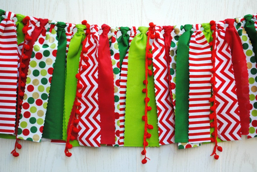 Christmas Fabric Bunting - FREE Shipping