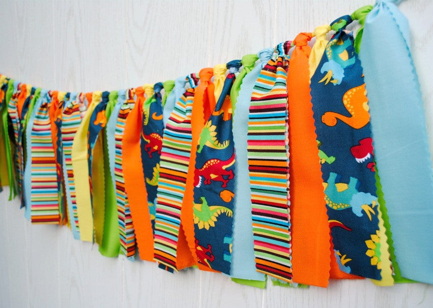 Dinosaur Party Fabric Bunting - FREE Shipping