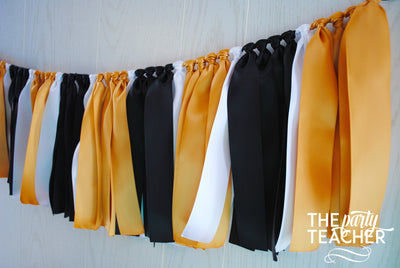 Gold Black White Ribbon Bunting - FREE Shipping