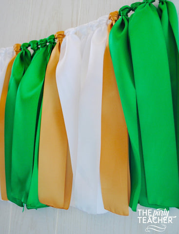 Green White Gold Ribbon Bunting - FREE Shipping