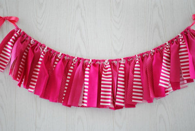 Hot Pink Fabric Bunting - FREE Shipping