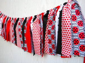Ladybug Party Fabric Bunting - FREE Shipping