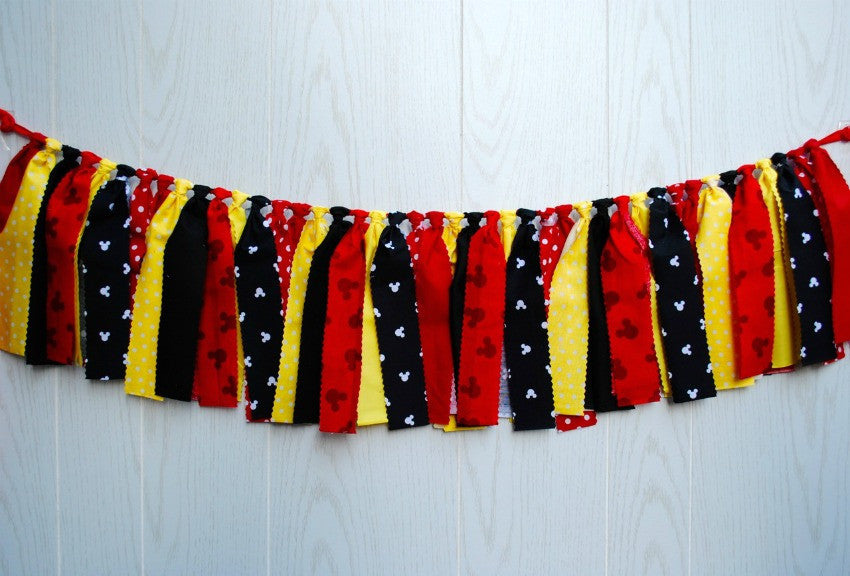 Mickey Mouse Fabric Bunting - FREE Shipping