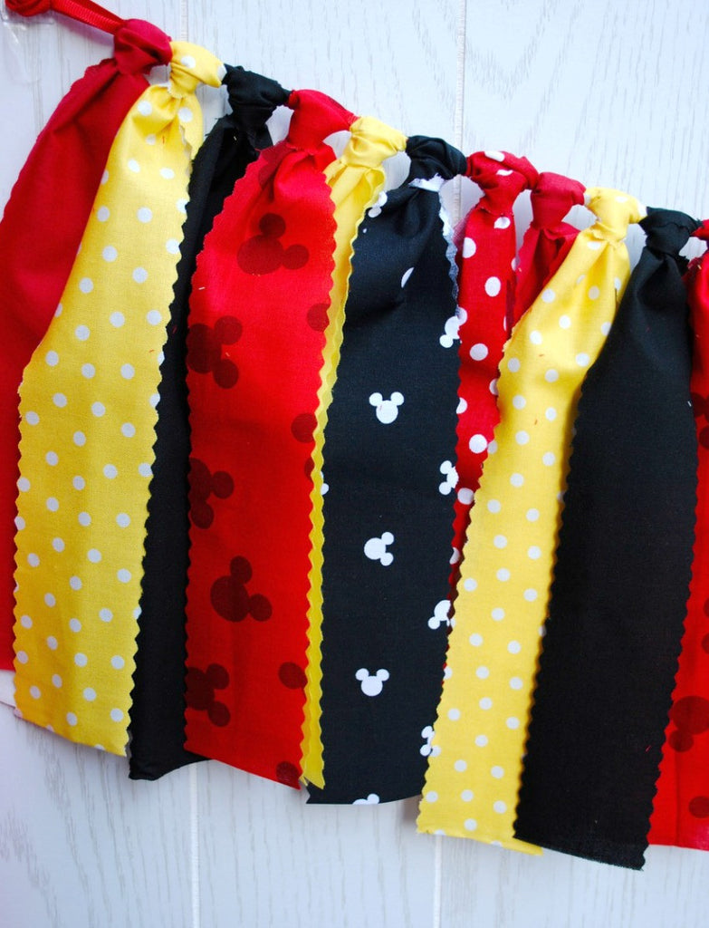 Mickey Mouse Fabric Tie Garland - FREE Shipping